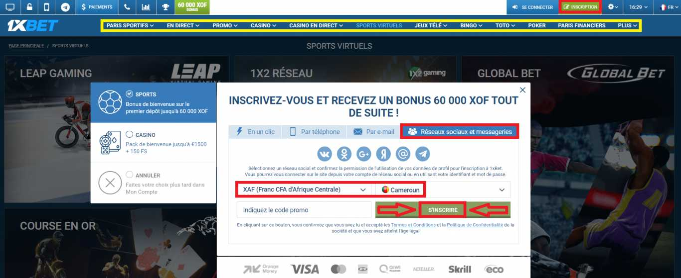 Termes et conditions d'obtention 1xBet bonus